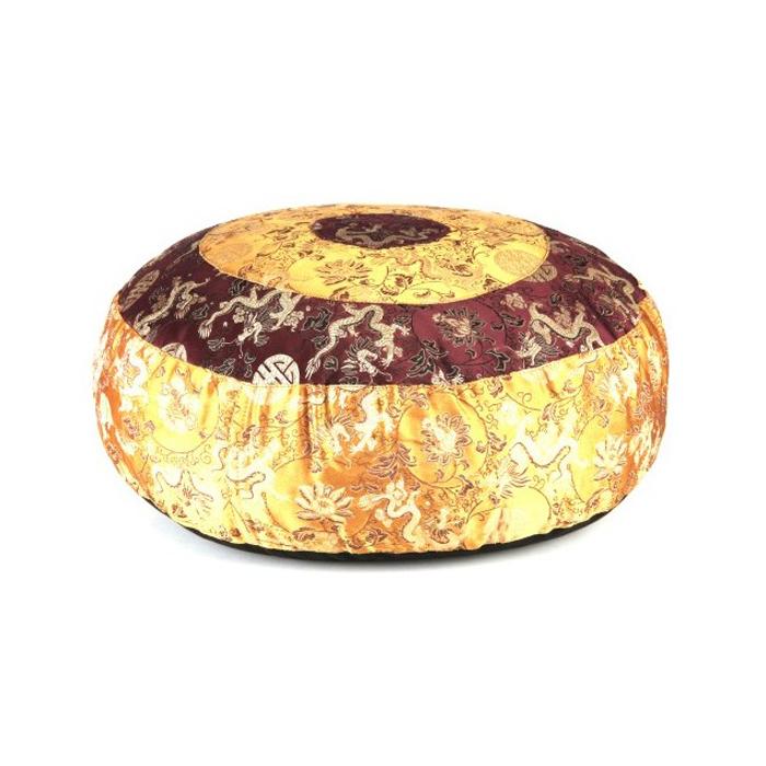 Meditationskissen Gold/Weinrot