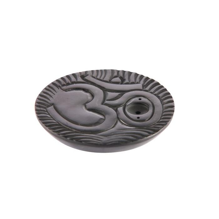 Stein Rund schwarz mit Gravur Om